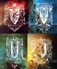 Hogwarts house crests with galaxy backgrounds