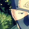 Kakashi staring with a half-lidded eye.