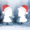 Silhouettes of Baz and Simon wearing Christmas Hats on a background of trees in the snow.