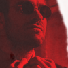 matt murdock in red with torn page effect to the right side
