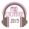 "A pair of headphones, with the text ""POD EXCHANGE 2019"""