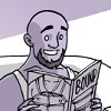 """a drawing of a man smiling while reading a magazine titled """"Bound"""""""