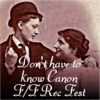 Icon for the F/F no canon needed rec fest. A vintage photo of two women dressed up and looking at each other lovingly, one in a dress and one in a suit and hat and holding a cigar. Text says 'don't have to know canon f/f rec fest'.