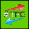 "Green background with white letters that say ""#ITPE""; there is a red arow above the letter pointing to the upper right, and a blue arrow below the letters pointing to the lower left."