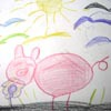 Icon features a drawing of a pink pig underneath a sunny sky, made with coloured pencils when artist BeeLikeJ was a toddler