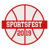A white basketball with a red banner reading: SportsFest 2019