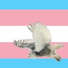 A snowy owl flying to the left on a trans pride flag background