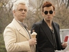 Aziraphale and Crowley looking suspicious with ice cream