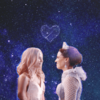 Emma and Regina looking at each other with stars in their eyes and stars overhead. A constellation of stars forms a heart above them.