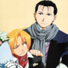 official art of Roy Mustang and Edward Elric wearing awful clothes as they usually do in official art