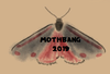 original digital art of a black moth with red markings with Mothbang 2019 written in black spooky font