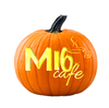 Pumpkin with MI6 Cafe digitally carved and coloured to appear lit from inside