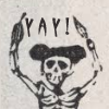 A skeleton saying yay