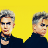 Two images of light-haired Adam Lambert against a bright yellow background