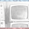 Black and white image of old television sets, bordered with blue on the top and red on the bottom.