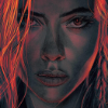 B&W close up of Natasha's face with neon red/orange hair from the Black Widow poster revealed at CCXP 2019 in São Paulo, Brazil.