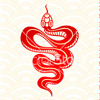A drawing of a snake in red ink