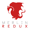 "Merlin Redux Icon -- Icon with Pendragon symbol and text ""Merlin Redux"""