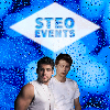 Image of Theo Raeken and Stiles Stilinski under a white diamond with the text Steo Events over it with a blue background with raindrops