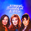 Laura Roslin from Battlestar Gallactica, Delenn from Babylon 5, and Beverley Crusher from Star Trek: TNG against a blue background. Text reads: Strong, Wise, Beautiful.