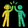 A stick figure with headphones and a stick figure holding a pen high-fiving. The background is black and the figures are in sparkly green and yellow
