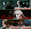 Three stacked images of Aragorn and Legolas, Gandalf, and Frodo and Sam with 'Secret Santa' text.