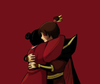 Image is a photo of Zuko and Mai hugging. Mai's back is shown and Zuko's head is resting on her shoulder. There is a red background.