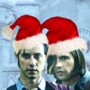 quentin and eliot wearing santa hats