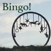 Giant sculpture of a Charm Bracelet against the Sky with the word Bingo!