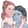 Rey and Ben Solo, hugging.