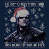 """Geralt in a Santa hat in a sweater print that says """"Merry Christmas and Toss a Coin to Your Witcher"""""""