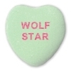 Candy heart that says WOLF STAR