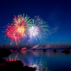 A multicolored fireworks burst in the harbor of Lubec, Maine