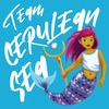 "Icon ""Team Cerulean Sea"" with illustration of Genderfluid Merperson"