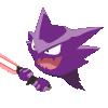 The Pokémon Haunter wielding a red lightsaber.