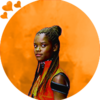 Shuri from Black Panther on a fiery orange background