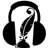 a quill in an inkwell surrounded by headphones