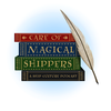 Care of Magical Shippers A Ship Culture Podcast logo with a stack of books and a qill