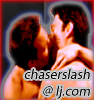 Two topless men kissing with the text 'chaserslash @ lj.com' superimposed over the image