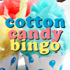 "The words ""cotton candy bingo"" over pink, blue, & yellow cotton candy/candy floss in cupcake-like cups"