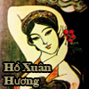 A painting of poet Ho Xuan Huong with her name in yellow text