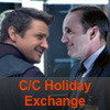 """Phil Coulson and Clint Barton looking at each other, with the words """"C/C Exchange"""" below them."""