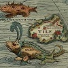 Detail from Carta Marina, showing Thule and sea monsters