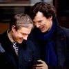John Watson & Sherlock Holmes (played here by Martin Freeman and Benedict Cumberbatch) embracing & laughing together