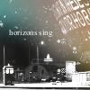 "TARDIS on the Plass. Text: ""horizons sing""."