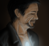 Seneschal Icon - Tony Stark smiling in profile, uplit by arc reactor