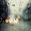 rain-streaked window