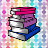 a stack of books in the bisexual flag colors on a rainbow field