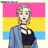 Picrew of a girl infront of an pansexual pride flag