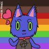 a blue-violet cat with green eyes wearing a black shirt with an anarchy symbol, a collar with a bell, and ear piercings. there are hearts coming off of them. the Philadelphia PoC-inclusive pride flag is in the background.